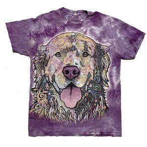 Tie Dye Dog T-Shirt Size M Purple The Mountain